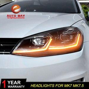Image 1 - Автомобильный Стайлинг налобный фонарь чехол для VW Golf7 фары Golf 7 MK7 2013 2017 светодиодный ная фара DRL линза двойной луч Биксенон HID