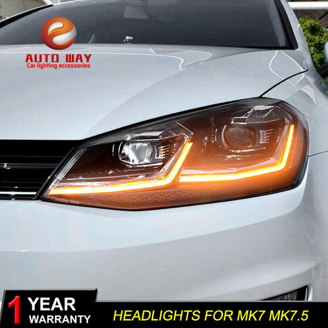 Автомобильный Стайлинг налобный фонарь чехол для VW Golf7 фары Golf 7 MK7 2013 2017 светодиодный ная фара DRL линза двойной луч Биксенон HID