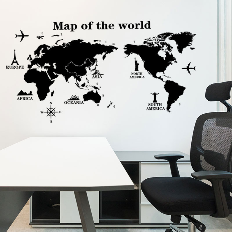 Map of The World Wall Stickers DIY Vinyl Wall Decals for Kids Room Maps Wallpapers Home Decor Black World Maps Home Decoration 1