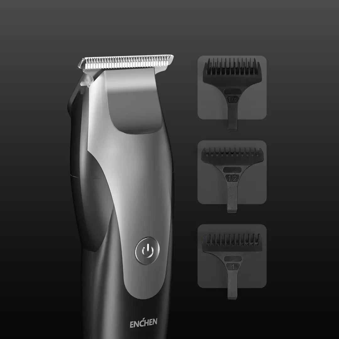 Image 2 - XIAOMI ENCHEN Hummingbird электрическая машинка для стрижки волос usb зарядка с низким уровнем шума триммер для волос с 3 щетками для волос черныйТриммеры для волос   -