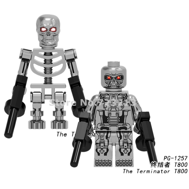 Single Sale The Terminator II Movie Figure Chrom T800 T-800 T 800 Chrome Building Blocks Models Bricks Kits Set Toys Legoing