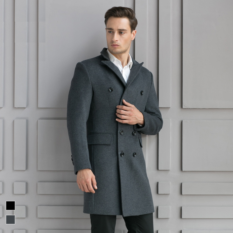 SHAN BAO brand clothing men's slim long wool coat 2020 autumn and winter double-breasted business casual coat black gray red