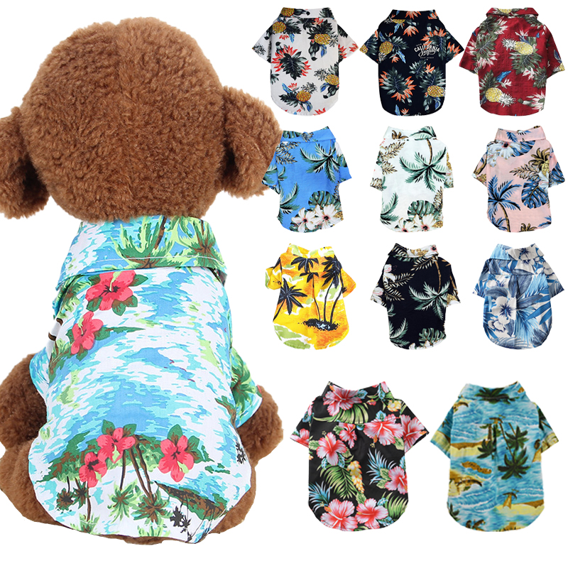 Summer Beach Shirts Dog Cute Hawaii Casual Pet Cat Clothing Floral T Shirt For Small Dogs Chiahuahua French Fulldog 10A