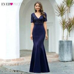 Блестящие темно-синие вечерние платья Ever Pretty EP00682NB, с коротким рукавом и треугольным вырезом, с блестками, Сексуальные вечерние платья Русал...