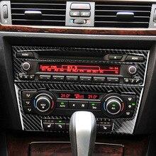 For BMW E90 E92 E93 2005-2012 3 Series Carbon Fiber Strip Air Conditioning CD Panel Decor Cover Trim Car Styling 3D Stickers for bmw 3 series e90 e92 e93 accessories car interior carbon fiber air conditioning cd panel cover trim decorations