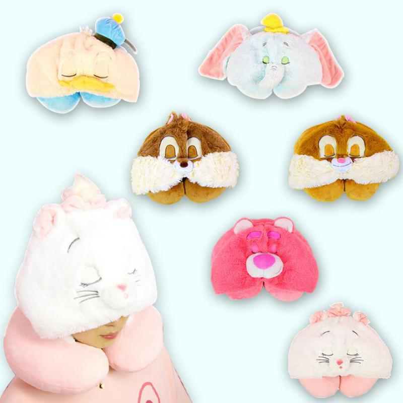 Cute Cartoon Marie Cat Strawberry bear Dumbo Donald Duck Stitch Plush Toy U-shaped pillow Soft Stuffed Animals Doll For Gifts