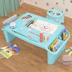 Escritorio pequeño en cama de plástico Escritorio de estudio para niños mesa de comedor de juguete multifuncional para niños