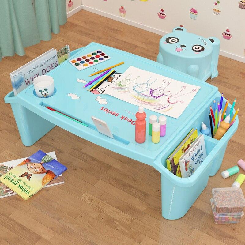 Escritorio pequeño sobre cama de plástico Escritorio de estudio de escritura para niños mesa de comedor de juguete multifuncional para niños