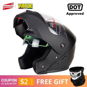 2019 New Flip Up Motorcycle Helmet Motorbike Modular Dual Lens Motocross Moto Helmet Crash Full Face Helmets Casco Moto Casque# цена 2017