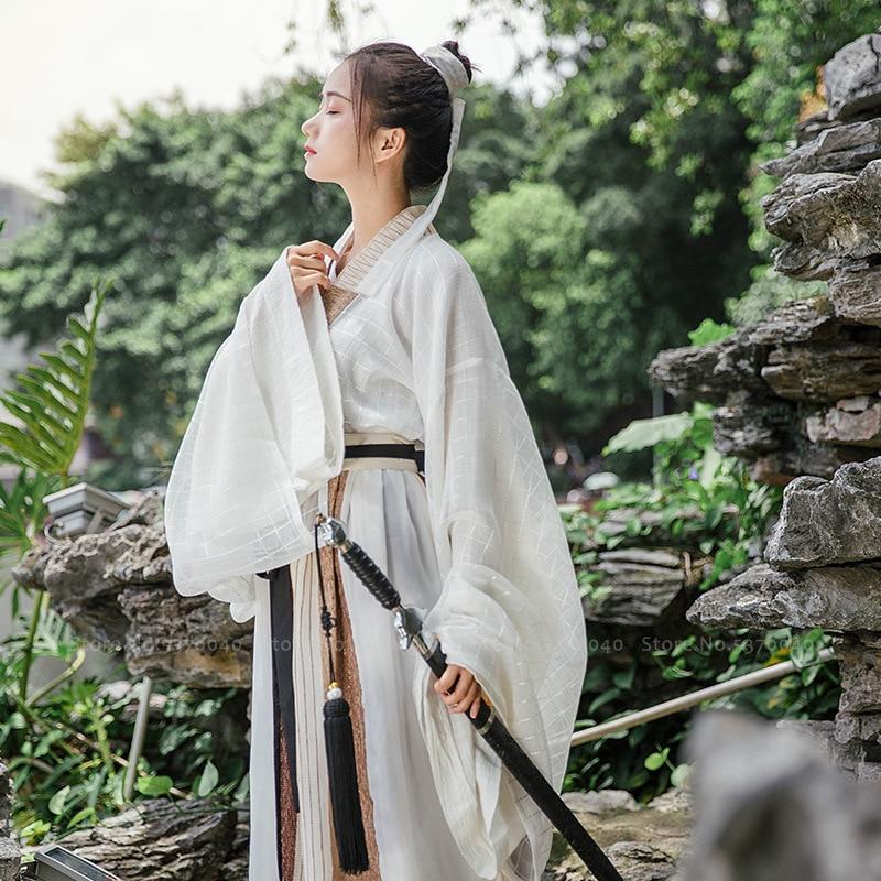 Chinese Traditional Hanfu Dress Tang Suit Tops Skirt Men Women Japanese Samurai Cardigan Kimono Yukata Robe Gown Cosplay Costume