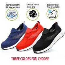 Segurança do trabalho sapato de aço masculino casual respirável tênis ao ar livre à prova de punctura botas confortáveis sapatos industriais