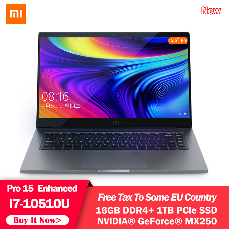 Original Xiaomi Mi Laptop Notebook 15.6 Pro Enhanced i7-10510U 16GB RAM 1TB SSD 100% sRGB Ultra Slim FHD Screen MX250 Computer image