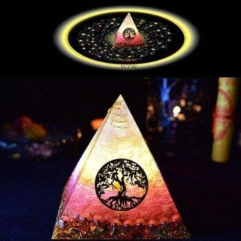 Orgonite Pyramid Ariel Maripura/Sahasrara Chakra Love Crystal Bring Lucky Stone Resin Pyramid Crafts Ornaments C0145