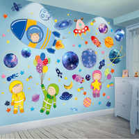 [SHIJUEHEZI] Outer Space Planets Wall Stickers DIY Cartoon Rockets Astronauts Wall Decals for Kids Rooms Baby Bedroom Decoration
