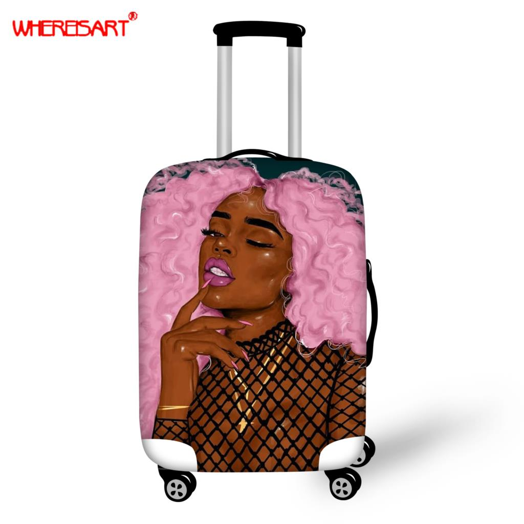 WHEREISART African American Women Case Cover Elastic Luggage Protective Cover For 18-30 Inch Trolley Case Suitcase Dust Cover