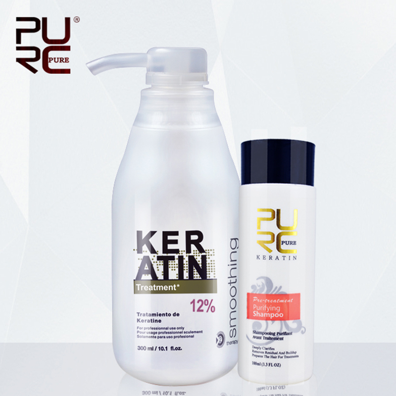 New PURC Brazilian keratin 12% formalin 300ml keratin treatment&100ml purifying shampoo hair straightening hair treatment set|Hair & Scalp Treatments| - AliExpress