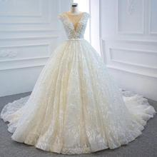 DD JYOY Luxury Pearls Ball Gown Wedding Dress 2020 Custom Made Lace Wedding Gown V Neck Long Train Sleeveless Lace Up Back