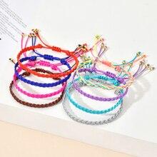 ZMZY Handmade Lucky Woven Bracelet Charm Adjustable Knots Color Rope Bracelets & Bangles