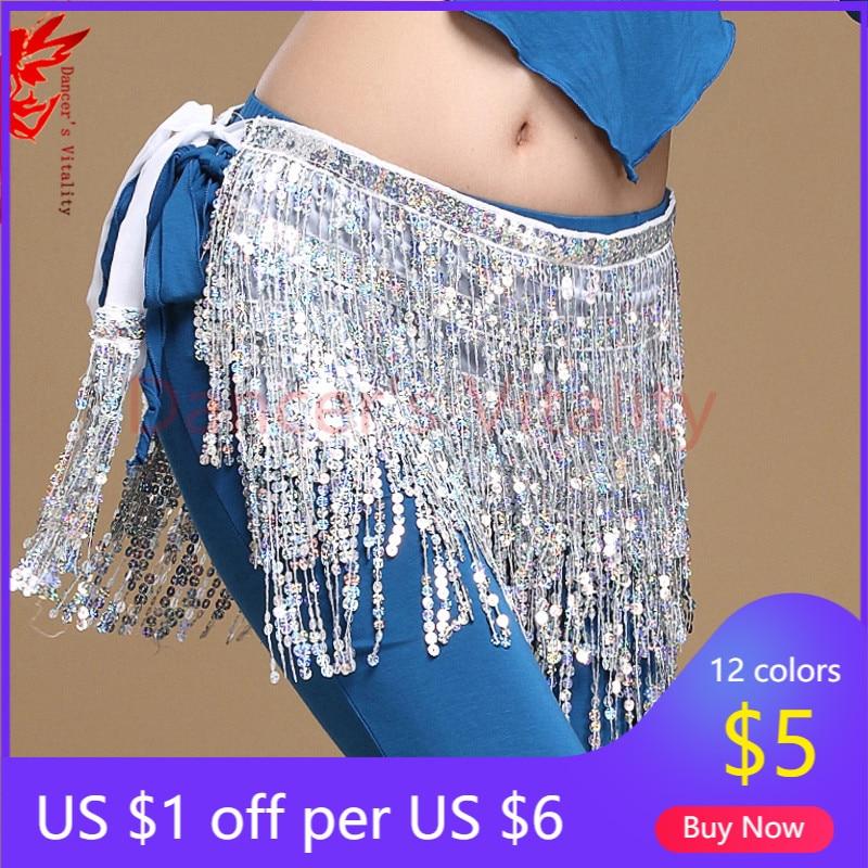 12 colors belly dance accessories women belly dance hip scarf tassel sequins belt girls belly dance belt