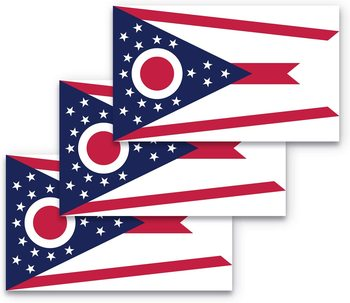 Ohio Flag Car Sticker Suitable for Computer Sticker Trunk Wall Bumper Sticker Waterproof image