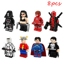 8Pcs Kompatibel LEGO Avengers Super Hero Die Flash Superman Deadpool Bausteine Abbildung Puppen Modell Christma Geschenke(China)