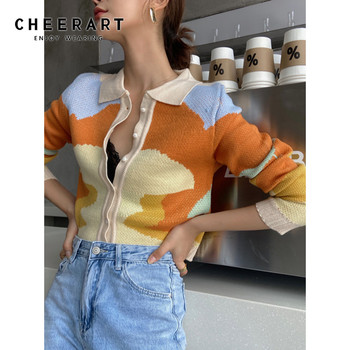 cardigan passioni cardigan CHEERART Autumn Colorful Cardigan Women Button Up Collared Cardigan Long Sleeve Warm Knitted Cardigan Korean Winter Clothing