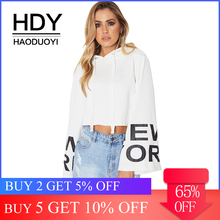 HDY Haoduoyi Apparel Solid Color Women Hoodies Full Sleeve Letter Print Belt Lady Crop Tops Streetwear Casual Female Pullovers