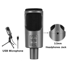 Profession Studio Cardioid Condenser Microphone Gaming Karaoke USB Microphone for Computer PC Recording mic for Streaming Live