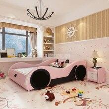 Милая Детская кровать 1,2 м/1,5 м/1,8 м в виде машины с матрасом, прикроватной тумбочкой, домашняя кровать, детская мебель для спальни, твердая древесина, кожа