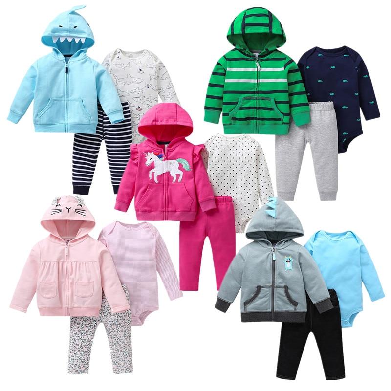 Newborn baby clothing Autumn 3pcs baby Boys Girls Clothes Jacket+pants+bodysuit Cute animals Infant Set Unicorn girls outfitClothing Sets   -