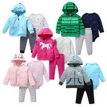 Yenidoğan bebek giyim sonbahar 3 adet bebek erkek kız elbise ceket + pantolon + bodysuit sevimli hayvanlar bebek seti Unicorn kızlar kıyafet