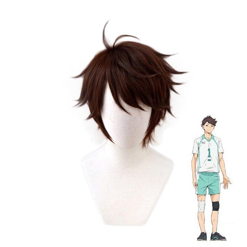 Haikyuu!! Aoba Johsai Toru Oikawa Tooru brun perruque courte Cosplay Costume résistant à la chaleur cheveux Haikiyu partie jeu de rôle perruques