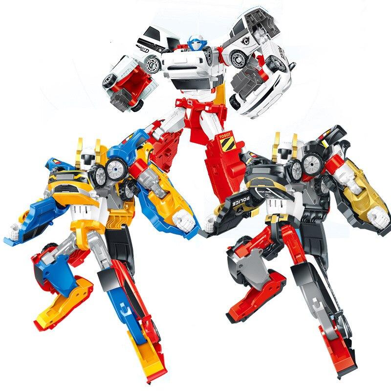 Tobo transfiguração mini tritan três-em-um irmão máquina cabida modelo de brinquedo de carro