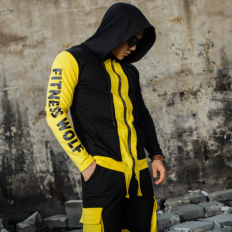 Fitness Wolf Brand Sporting Suit Men 2 Pieces Hoodies+pants Sets Mens Gyms Sportswear Jogger Suit Male Patchwork Tracksuit Sets