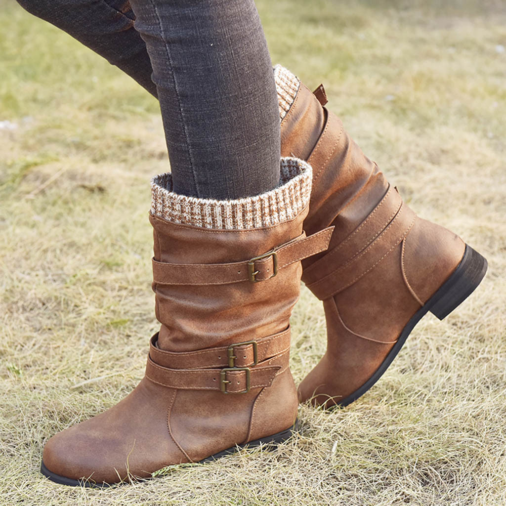 Women Boots Winter Warm Booties Woman Mid Calf Boots Brown Back LaceUp  Design Boots Solid Color Low Heels Shoes Botas Mujer 2020 Mid-Calf Boots  -  AliExpress