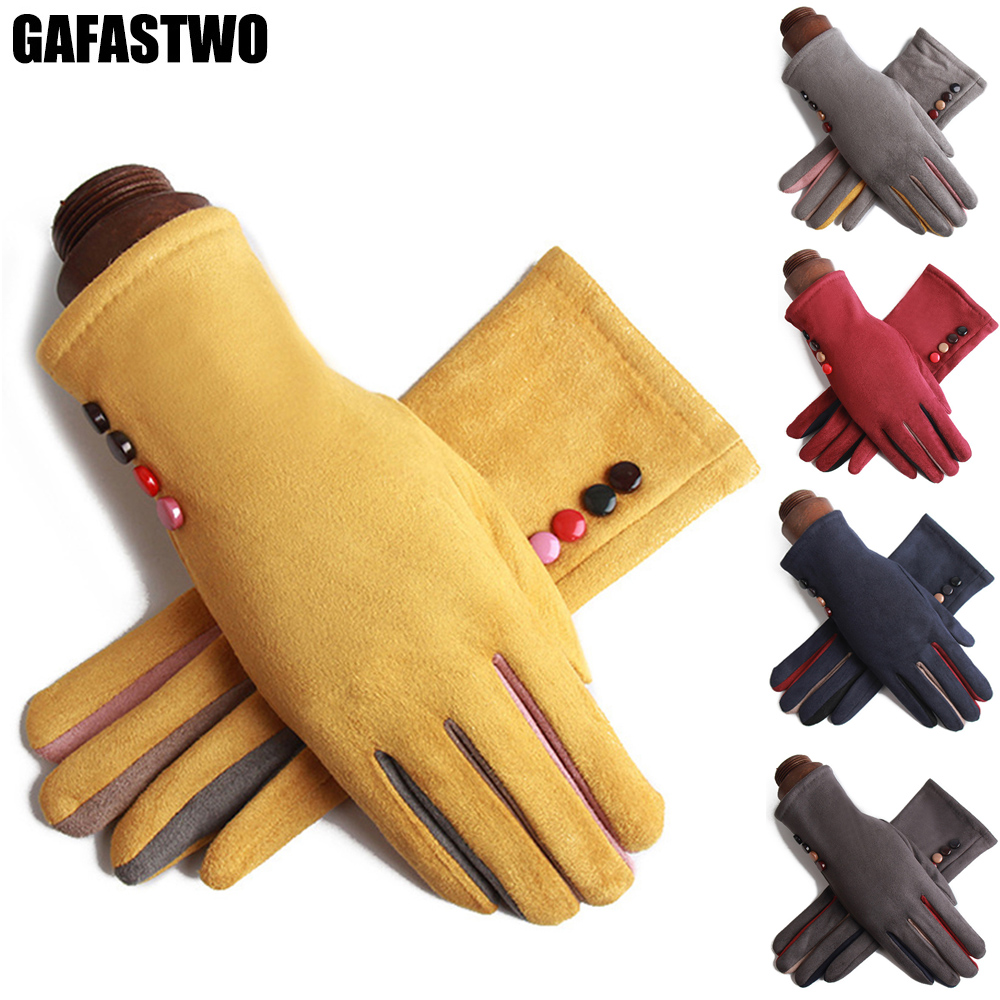Winter Thick Warm Touch Screen Women Gloves Suede Fashion Cycling Soft Ladies Gloves
