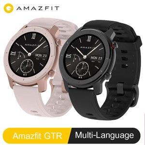 Image 1 - Amazfit GTR 42 мм умные часы Huami 5ATM водонепроницаемые спортивные умные часы 24 дня батарея с GPS пульсометром Многоязычная