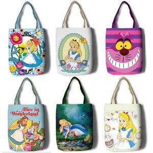 Image 2 - New Alice Girls Women Canvas Shoulder Bags Large Handbag Cute Cartoon School Book Shopping Bag