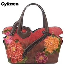 Gykaeo 2019 European and American Style Women's Floral Genuine Leather