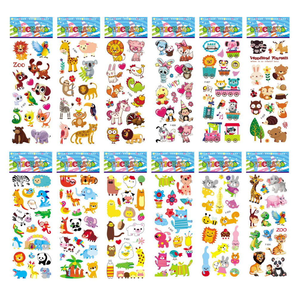 12 Sheets/Pack Kids <font><b>Stickers</b></font> 3D Puffy Bulk Cartoon Zoo Animal Scrapbooking <font><b>Stickers</b></font> for Girl Boy Birthday Gift image