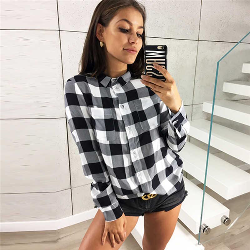 เสื้อลายสก๊อตเสื้อผู้หญิง 2019 แฟชั่นแขนยาว Turn-down ปลอกคอเสื้อลำลองสุภาพสตรีเสื้อ Tunic Tops Plus ขนาด S-3XL