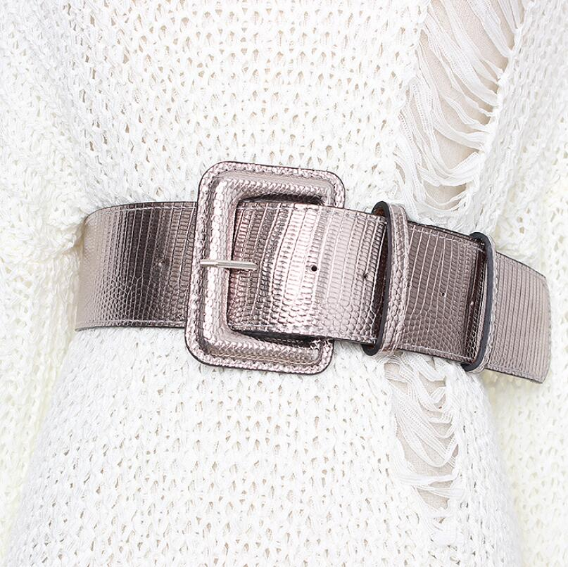 Women's Runway Fashion  PU Leather Cummerbunds Female Dress Corsets Waistband Belts Decoration Wide Belt R1987