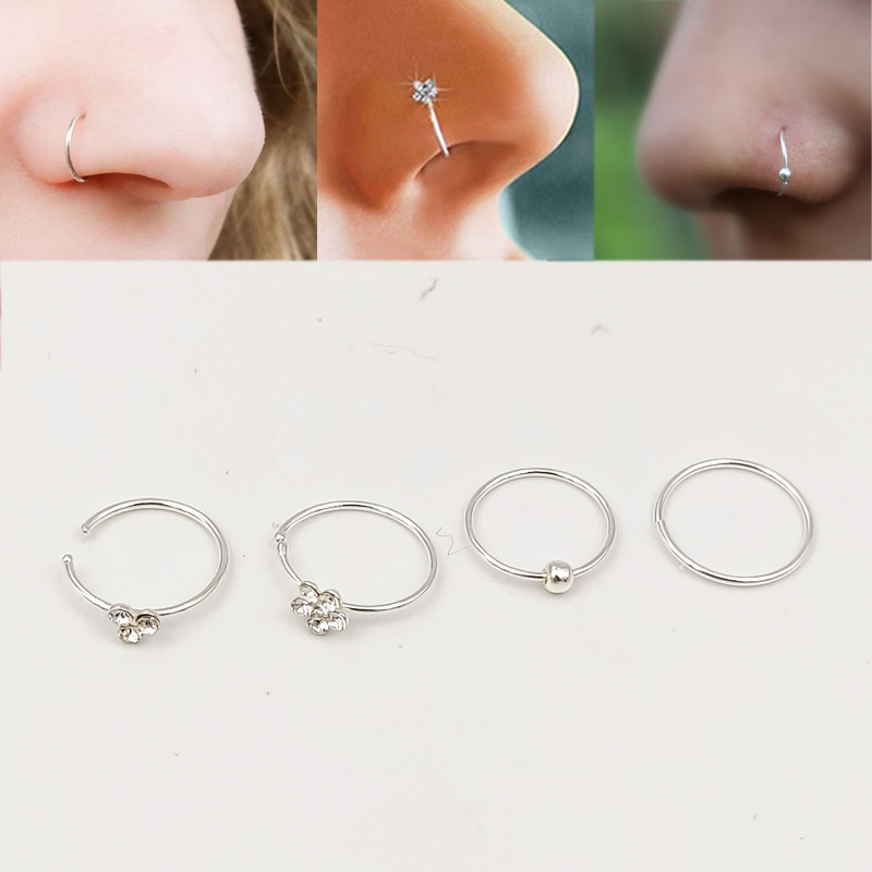 16pcs/pack 925 Sterling Silver Nose Ring 22G Huggie Nose Hoop Piercing Jewelry