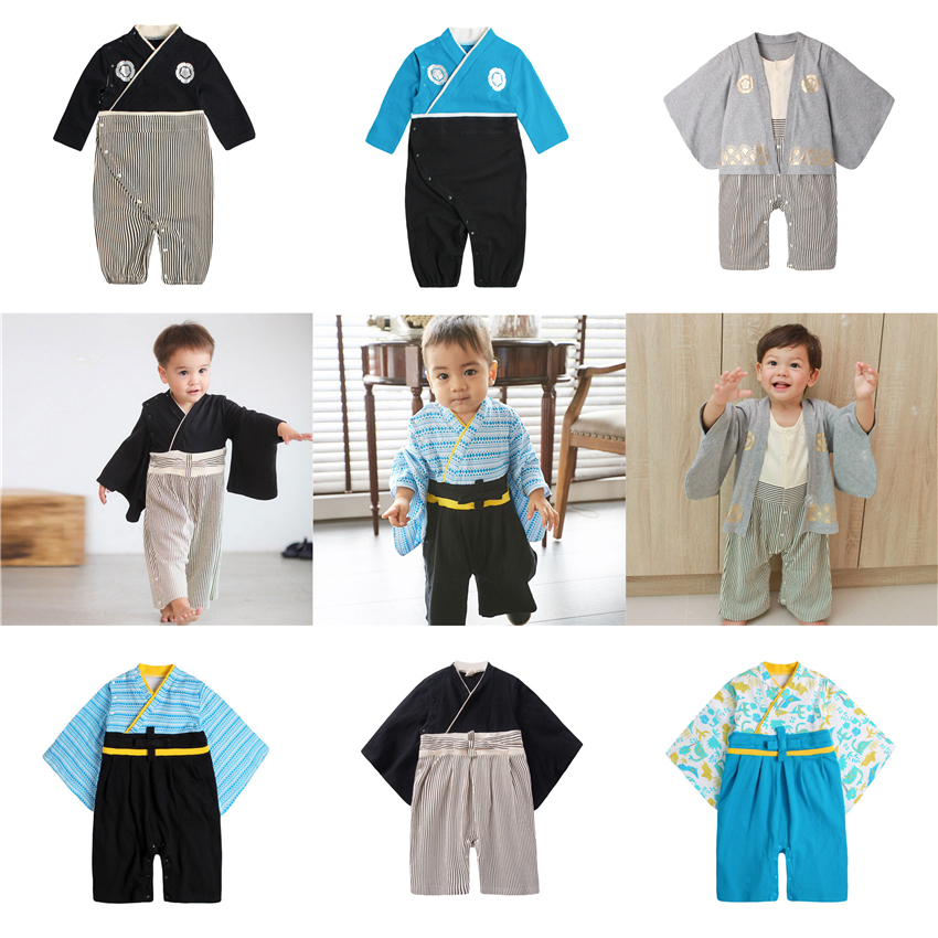7Color Japanese Style Clothing For Baby Boys Kimono Rompers Cotton 0-1 Years Old Performance Yukata Traditional Asian Clothes