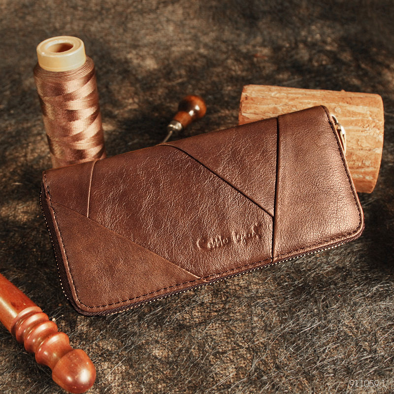 Купить с кэшбэком Cobbler Legend 2019 New Retro Women's Wallets For Lady Genuine Leather Zipper Wallet For girls Long Coin Card Purses  For Woman