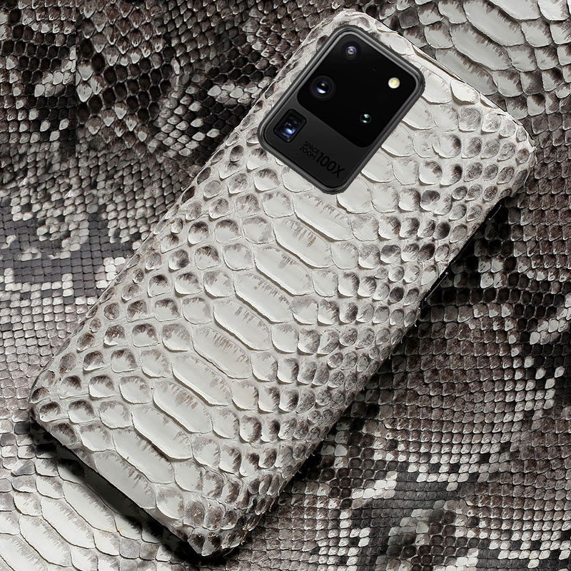 Luxury Genuine Python Leather Cell Phone Case For Samsung Galaxy S20 S20 Plus S20 Ultra A50 A51 S8 S9 S10 Plus Snakeskin Cover