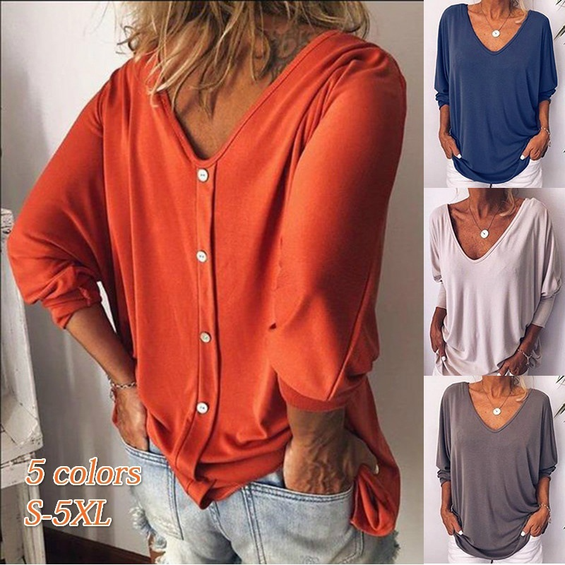 S-5XL Plus Size T-shirt Women Tops Sexy Loose V-neck Batwing 3/4 Sleeve Oversized T Shirts Back Button T-shirts Female Big Size