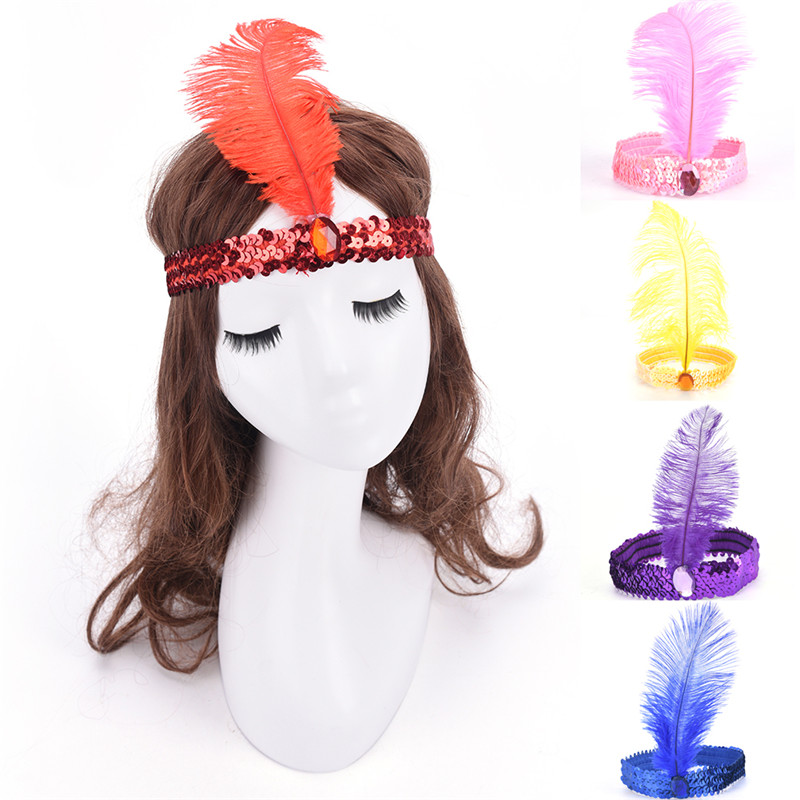 Feather Flapper Sequin Charleston Dress Costume Women Solid Multicolor HairBand