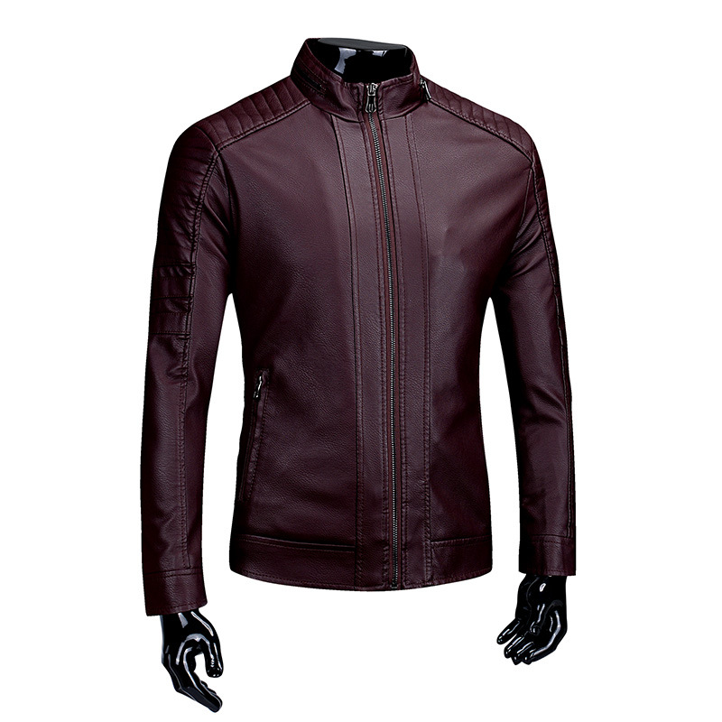 Casual MEN'S Leather Coat Men's Li Ling Kuan Men'S Wear Leather Jacket Locomotive Leather Jacket Maneuvering Leather Coat
