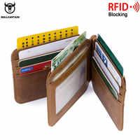 BULLCAPTAIN cuir tir-flod ID/porte-carte de crédit portefeuille de poche avant avec RFID bloquant à deux volets clips de mois en cuir d'affaires